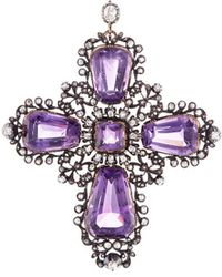 LC COLLECTION - Diamond Amethyst Fretwork Cross Pendant - Lyst