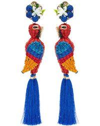 Mercedes Salazar - 'queen Gucamaya' Parrot Tassel Drop Clip Earrings - Lyst