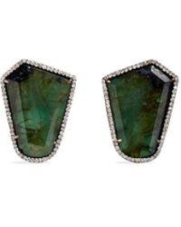 Monique Péan | 'atelier' Emerald Diamond 18k Recycled White Gold Earrings | Lyst