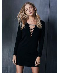 Lanston - Lace Up Sweatshirt Dress - Lyst