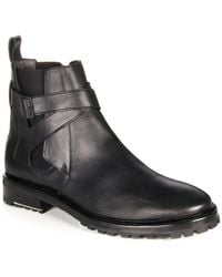 Lanvin | Crossover-Strap Leather Ankle Boots | Lyst