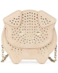 Lanvin - Pale Gold Embroidered Coin Purse Bag - Lyst