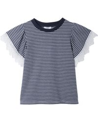 Suncoo - Suzy Striped Lace T-shirt - Lyst