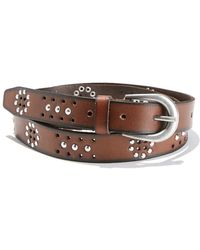 La Redoute - Peforated Leather Belt With Flat Studs - Lyst