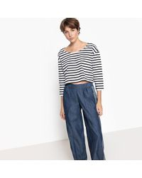 La Redoute - Cropped Striped T-shirt - Lyst