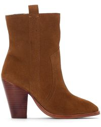 La Redoute - High-heeled Leather Cowboy Boots - Lyst