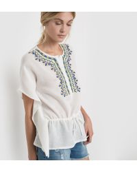 Color Block - Short-sleeved Blouse With Embroidered Inset - Lyst