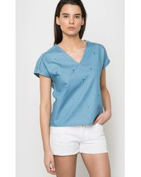 Color Block - Chambray Blouse With All-over Jewelled Motif - Lyst