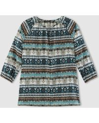 Marc O'polo - Printed V-neck Blouse With 3/4 Length Sleeves - Lyst