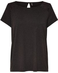 ONLY - Short-sleeved Crew Neck Lace T-shirt - Lyst