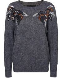 cf221e599 Lyst - Asos Sweater With Sequin Bird Motif in Pink
