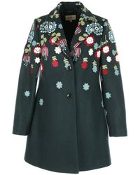 Rene' Derhy - Mid-length Coat With Floral Embroidery - Lyst