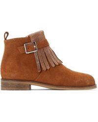 La Redoute - Leather Zip-up Ankle Boots With Fringing, Sizes 26-39 - Lyst