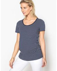 LA REDOUTE | Striped Maternity T-shirt With Pleated Waist Detail | Lyst