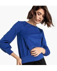 La Redoute - Corduroy Blouse With Braid Detail On The Sleeves - Lyst