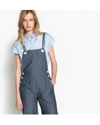 LA REDOUTE | Striped Denim Wide Leg Dungarees With Shoestring Straps | Lyst