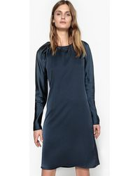 La Redoute - Dual Fabric Short Dress With Stylish Sleeves - Lyst
