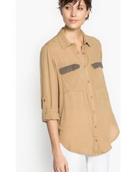 School Rag - Plain Long-sleeved Shirt With Polo Shirt Collar - Lyst