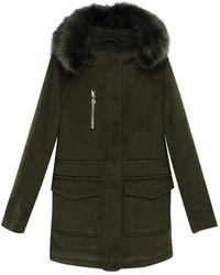 Le Temps Des Cerises - Abrigo semilargo con capucha, de paño de lana - Lyst