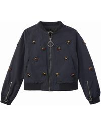 School Rag - Embroidered Bomber Jacket - Lyst