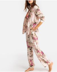 La Redoute - Pijama camisero de manga larga con estampado de flores - Lyst