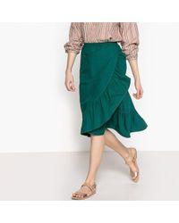La Redoute - Ruffled Cotton Wrapover Skirt - Lyst