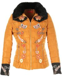 Rene' Derhy - Padded Jacket With Floral Embroidery - Lyst