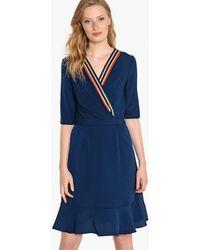 La Redoute - Striped-neck Wrapover Dress - Lyst