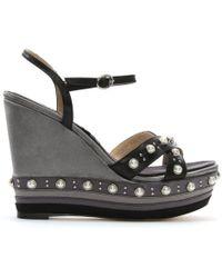 Daniel - Pentra Black Leather Embellished Wedge Sandals - Lyst