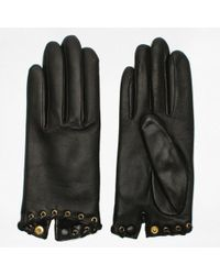 Agnelle - Alixen Black Leather Whip-stitched Short Gloves - Lyst