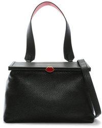 Lulu Guinness - Jessica Black Grainy Leather Shoulder Bag - Lyst