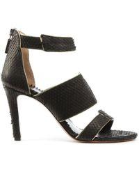 Phio Myo - Tailor Black Leather Reptile Gold Trim Sandal - Lyst