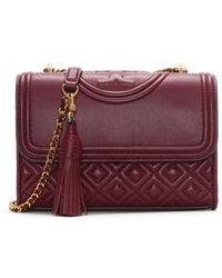 Tory Burch - Fleming Small Convertible Imperial Garnet Leather Shoulder Bag - Lyst