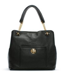 Tory Burch - Chelsea Black Pebbled Leather Tote Bag - Lyst
