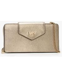 Michael Kors - Small Convertible Pale Gold Smartphone Cross-body Bag Col - Lyst