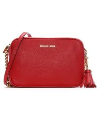 Michael Kors - Ginny Bright Red Tumbled Leather Camera Bag - Lyst