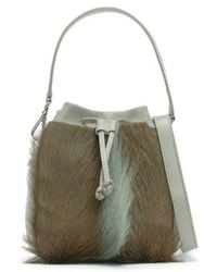 7984a1302c2c Sherene Melinda - Lou Lou Small Grey Leather Bucket Bag - Lyst