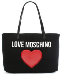 Love Moschino - Catherine Black Canvas Logo Heart Shopper - Lyst