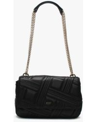 DKNY - Large Allen Black Leather Quilted Shoulder Bag - Lyst