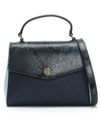 Tory Burch - Robinson Royal Navy Blue Multi Satchel Bag - Lyst