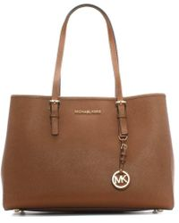 Michael Kors - Jet Set Travel Tan Large Leather Tote Bag - Lyst
