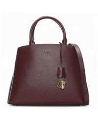 DKNY - Paige Blood Red Leather Dome Satchel Bag - Lyst