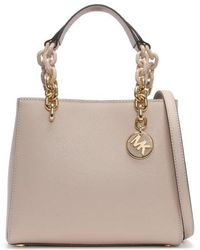 Michael Kors - Small North South Soft Pink Leather Cynthia Satchel Bag C - Lyst