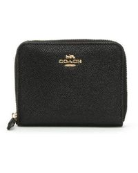COACH - Small Black Leather Zip Around Wallet - Lyst