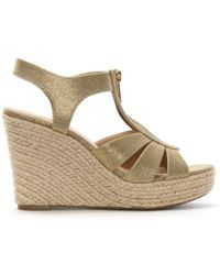 Michael Kors | Berkley Pale Gold Leather Wedge Sandals | Lyst