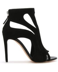 Alexander McQueen - Black Suede Cage Sandals - Lyst