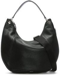 DKNY - Tompson Black Pebbled Leather Hobo Bag - Lyst