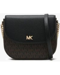 Michael Kors - Mott Half Dome Brown & Black Pebbled Leather & Logo Cross-body Bag - Lyst