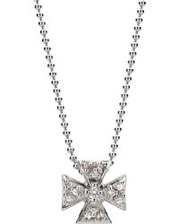 Elizabeth Showers - Mini Maltese Pave Pendant Necklace - Lyst