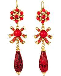 Jose & Maria Barrera - Cinnabar Teardrop Earrings - Lyst